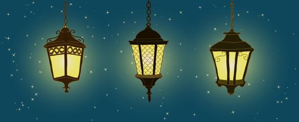 Outdoor lighting hanging lantern. Hand drawn lantern