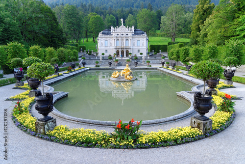 Foto auf Gartenposter Schloss Linderhof Palace - the smallest of the three palaces built by King Ludwig II in Bavaria, Germany and the only one which he lived to see completed.