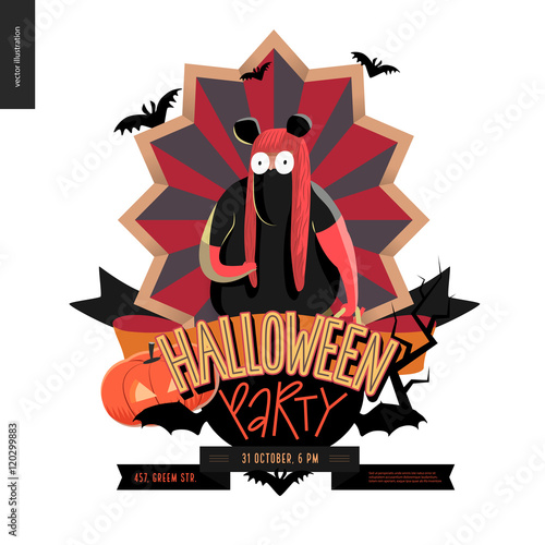 Photo  Halloween Party composed emblem invitation