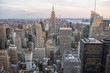 View of Midtown Manhattan New York City skyline in the soft light of dusk