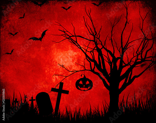 Keuken foto achterwand Rood traf. Grunge Halloween landscape background