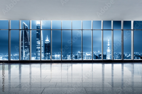 cityscape and skyline of shanghai from glass window
