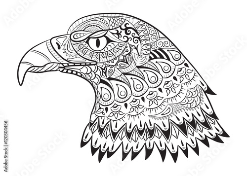 hand drawn eagle zentangle for coloring page for adults