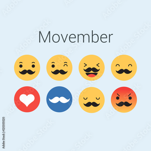 Photo  Set of emoticons, emoji for movember. Editable vector design
