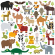 Eurasia animal bison bat fox wolf elk horse cock camel partridge fur seal Walrus goats Polar bear Eagle bull raccoon snake sheep panda leopard Brown bear deer gannet Crocodile turtle elephant. Vector