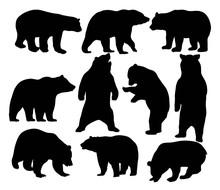 Bear Set Silhouettes, Art Vect...