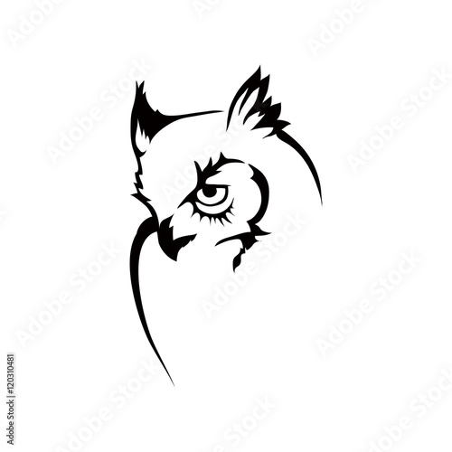 Deurstickers Uilen cartoon owl logo