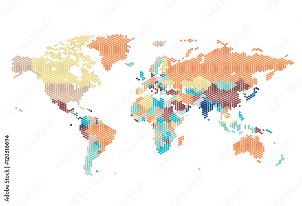 Dotted World map of hexagonal dots Foto, Poster, Wandbilder bei ...