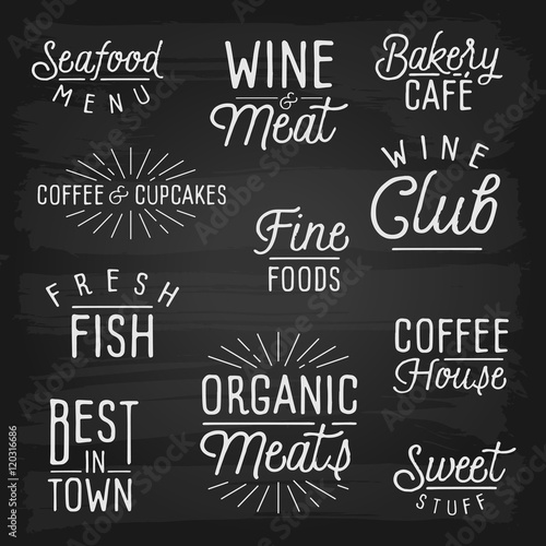 Photo  Hand drawn lettering slogans for cafe and restaurant