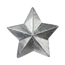 Silver Glossy Christmas Star Isolated On White