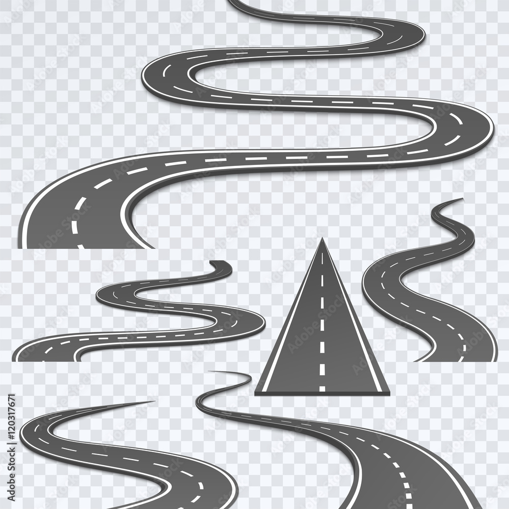 Fototapeta Road with white stripes on a plaid background. Set curved routes.