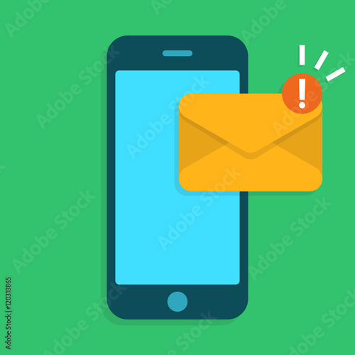 Smartphone with Email symbol  Mobile phone with envelope  Flat