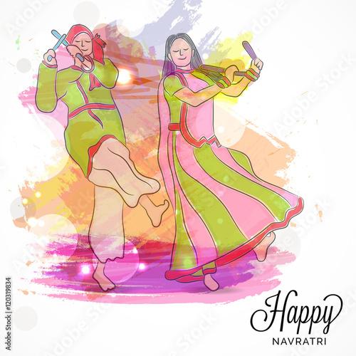 Wall Murals Mermaid illustration Navratri or Happy Diwali festival