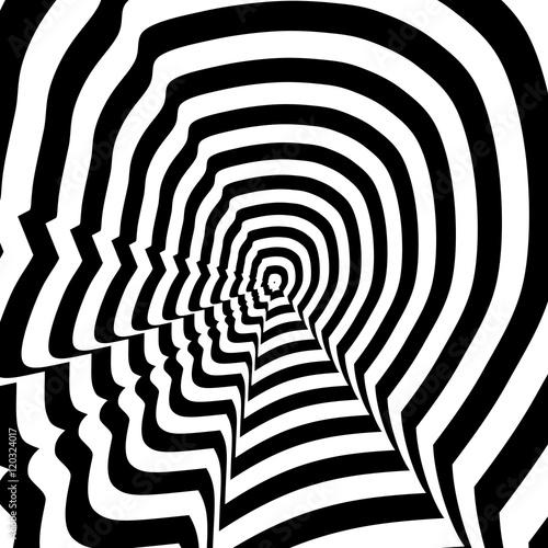 Obraz na plátne Concentric abstract symbol, Steve Jobs profile - optical, visual illusion