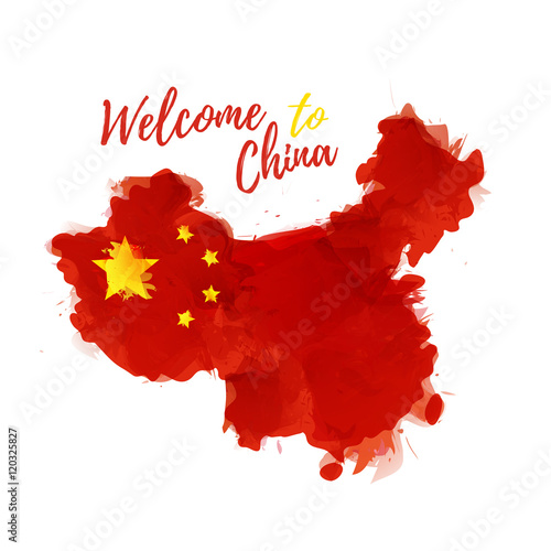 Tuinposter China Symbol, poster, banner China. Map with the decoration of the national flag. Style watercolor drawing. Vector.