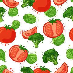 Seamless pattern with vegetable decoration. Wallpaper with a pattern of tomat...