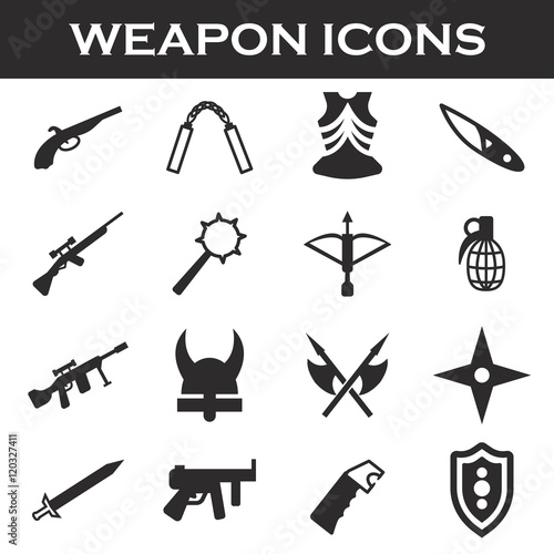 Fotografie, Obraz  weapor icons set