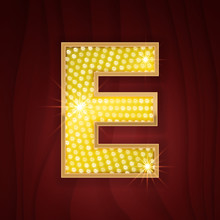 Gold Light Lamp Bulb Letter E