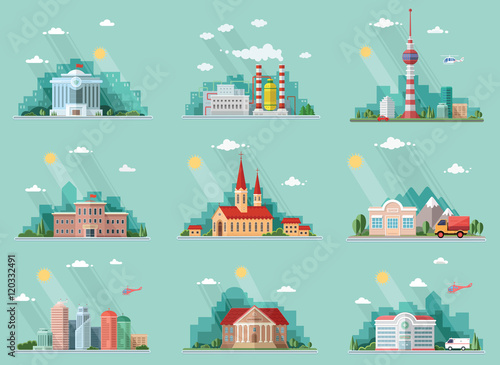 Poster Turquoise Mega Set of icons for your design. School, Town Hall, university