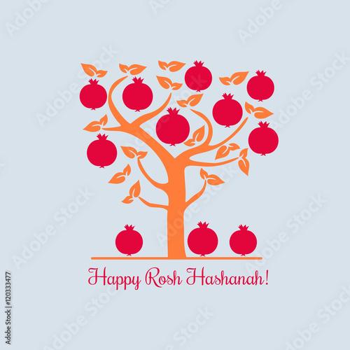 rosh hashanah jewish new year concept traditional holiday symbols cute bright pomegranate template