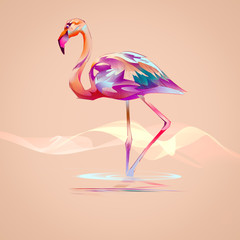 Naklejka Popularne flamingo on an orange background