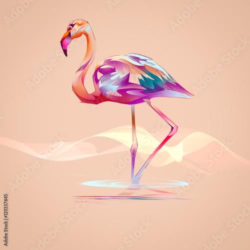 Foto-Kissen premium - flamingo on an orange background (von khius)