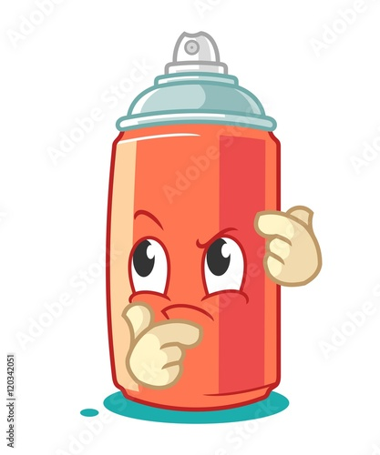 Photo  Spray Paint Mascot Cartoon Vector Illustration Think