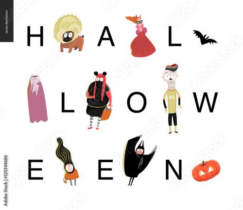 Halloween letetring card. Vector cartoon illustrated kids