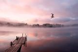 Ranek na Seliger jeziorze (Rosja) z mgłą i mgłą lata nad ramą - 120344852