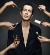 Fashion studio photo of elegant man in a beauty salon. Conceptua