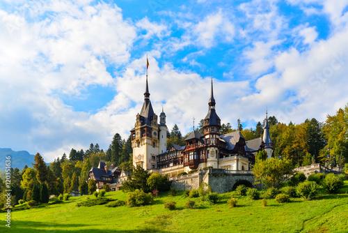 Peles castle Sinaia, Transylvania, Romania protected by Unesco World Heritage Si Canvas Print