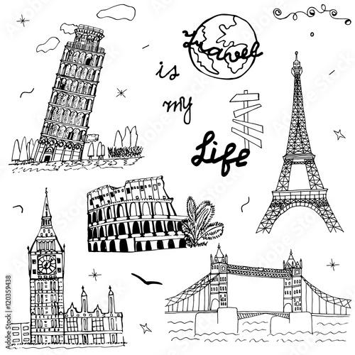 Foto op Canvas Doodle Hand drawn Europe architecture. Sketch art. Doodle symbol: Pisa, Eiffel, Colosseum, Big Ben, Tower Bridge. Set of the famous European monuments. Drawing collection travel design. Vector illustration.