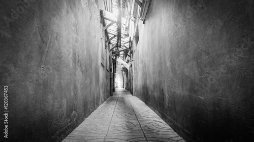 Black and white style image of classic small street in Yaowarat road,Bangkok capital city,Thailand Canvas Print