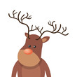 christmas brown reindeer with red nose cartoon. vector illustration