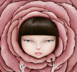 Conceptual illustration or poster with head of girl in rose petal  with  key in his hand.