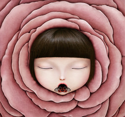 Background for Conceptual illustration or poster with head of girl in rose petal