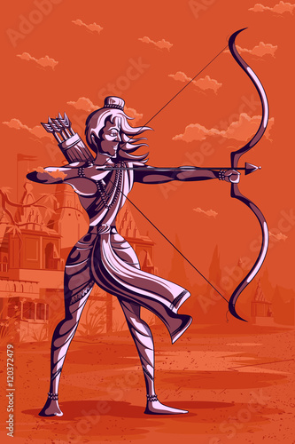 Photo Indian God Rama with bow and arrow