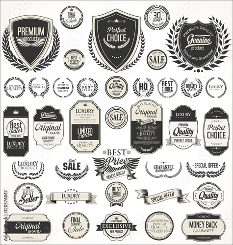 Photo  Retro vintage shields laurel wreaths and badges collection