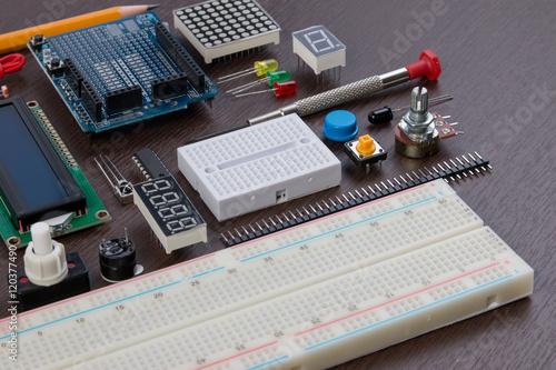 Stem Education Or Diy Electronic Kit Robot Made On Base Of