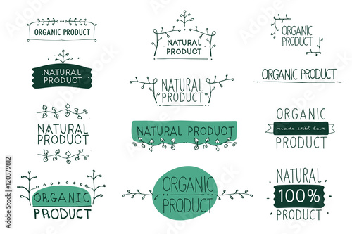Fotografia  Vector signs Natural and Organic product which show idea of ecology, naturality,