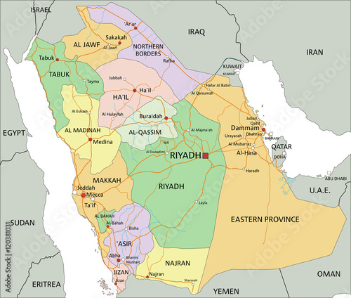 Saudi Arabia - Highly detailed editable political map with labeling ...