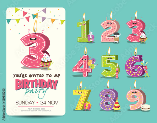 Birthday Anniversary Numbers Candle With Funny Character