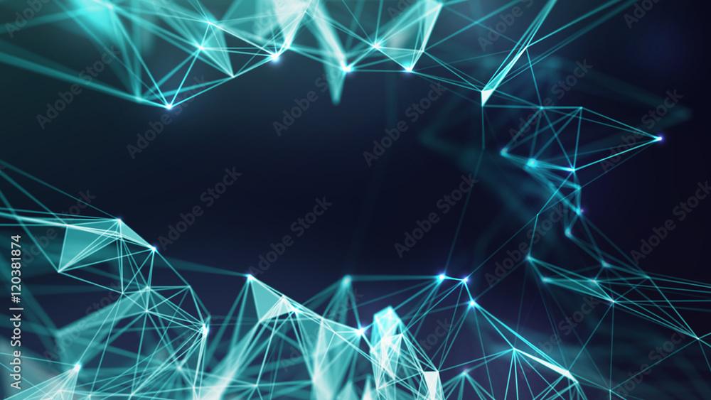 Fototapety, obrazy: Abstract Blue Geometrical Background ..Futuristic technology style. Neon Sign . HUD Element . Elegant . Big data visualization .