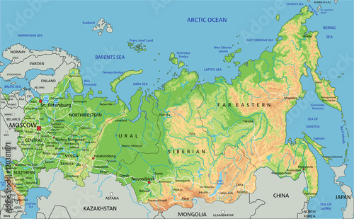 High detailed Russia physical map with labeling. Fototapet