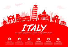 Italy Travel Landmarks Vector