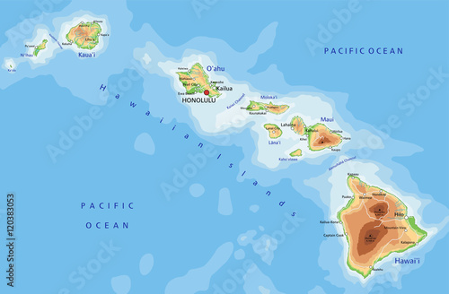 High detailed Hawaii physical map with labeling. Canvas Print