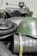 Old Military Helmet. Detail With Old Military Helmet Placed Over