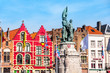 canvas print picture - Market square in Bruges, Belgium