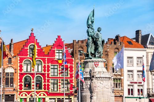 Fotobehang Brugge Market square in Bruges, Belgium