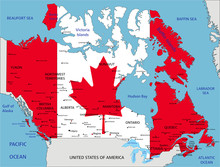 Canada Highly Detailed Political Map With National Flag Isolated On White Background.